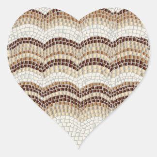 Autocollant mat de coeur de mosaïque beige