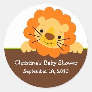 Autocollant mignon de baby shower de lion