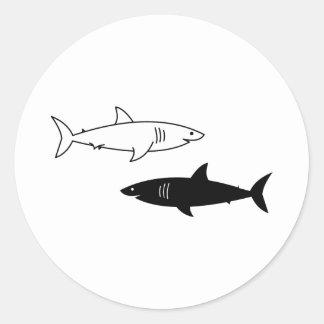 Autocollant noir et blanc de requins