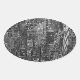 Autocollant noir et blanc d'ovale de New York City