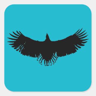 Autocollant noir et bleu d'illustration de
