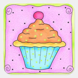Autocollant orange rose de petit gâteau de cerise