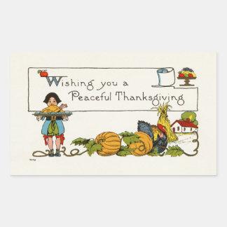 Autocollant paisible de rectangle de thanksgiving