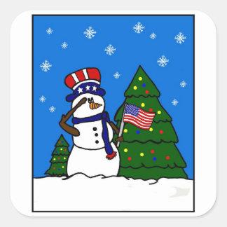 Autocollant patriotique de bonhomme de neige de