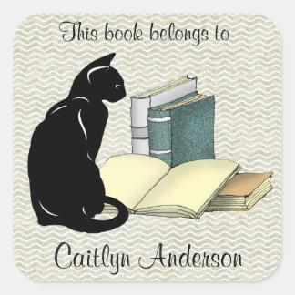 Autocollant personnalisé d'ex-libris de chat et de