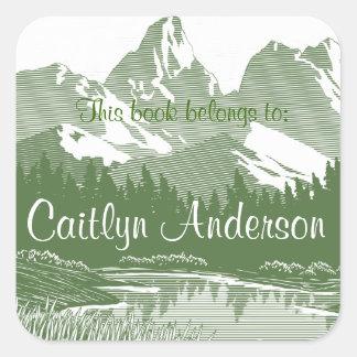 Autocollant personnalisé d'ex-libris de montagnes