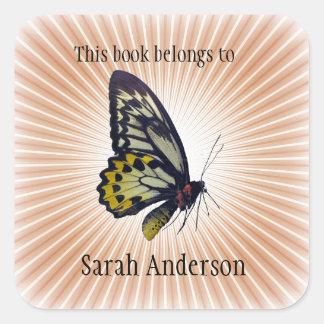 Autocollant personnalisé d'ex-libris de papillon