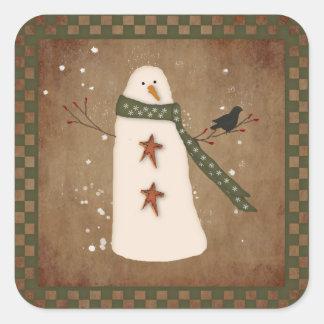 Autocollant primitif de bonhomme de neige