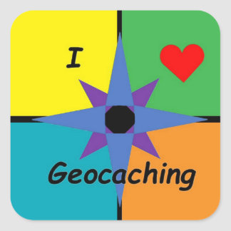 Autocollant rectangulaire de Geocaching