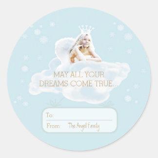 Autocollant rêveur d'ange de Noël