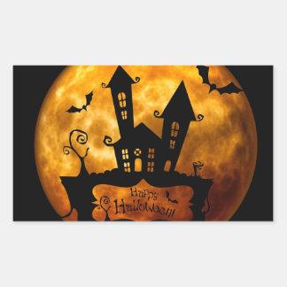 Autocollant rond classique de Halloween/scène