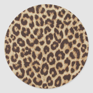 Autocollant rond classique d'empreinte de léopard