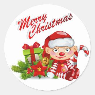 Autocollant rond d'aide de Père Noël, brillant