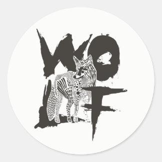 Autocollant rond de loup