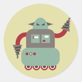 Autocollant rond de robot de foreuse