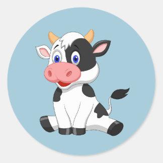 Autocollant rond de vache animated mignonne