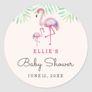 Autocollant rose de baby shower de flamant