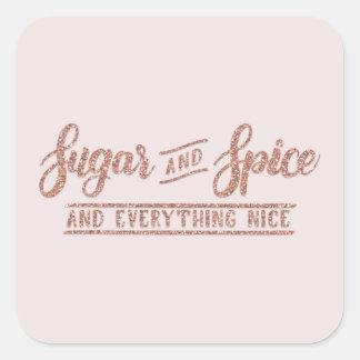 Autocollant rose de calligraphie d'or de sucre et
