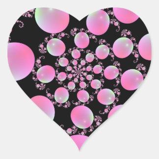 Autocollant rose de coeur de spirale de ballon
