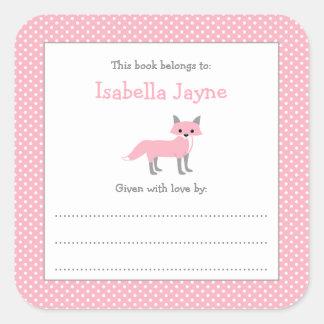 Autocollant rose de livre d'ex-libris de baby