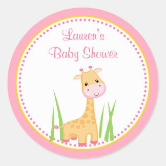 Autocollant rose d'étiquette de faveur de baby
