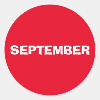 Autocollant rouge à discrétion de septembre par
