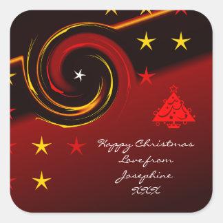 Autocollant rouge de joli Noël pour des cadeaux