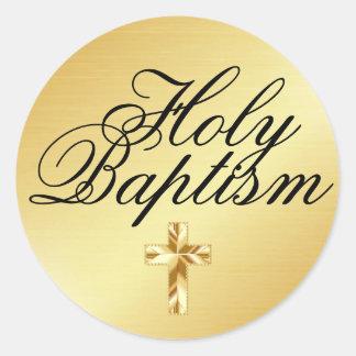 Autocollant saint d'or de baptême avec la croix