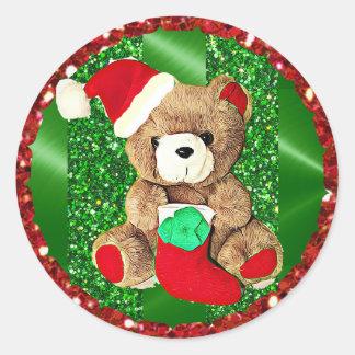 Autocollant scintillant de Noël d'ours de nounours