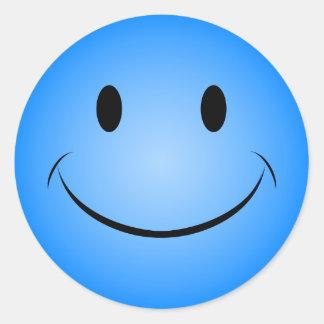 Autocollant souriant bleu