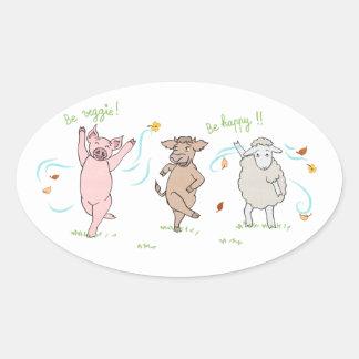Autocollant vegan : cochon, vache et mouton