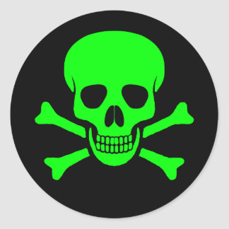 Autocollant vert et noir de crâne et d'os croisés