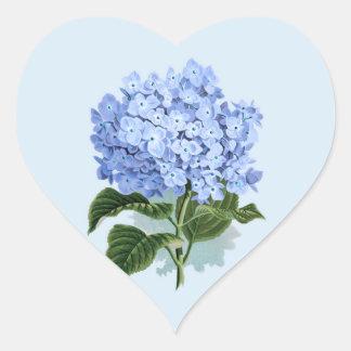 Autocollant vintage de fleur d'hortensia de bleu