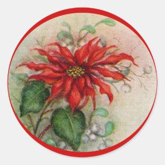 Autocollant vintage de Noël de fleur de poinsettia