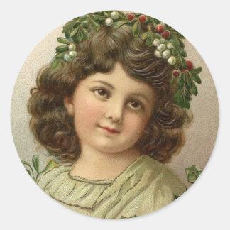Autocollant vintage de vacances de fille de Noël