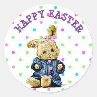 Autocollant vintage heureux de lapin de Pâques