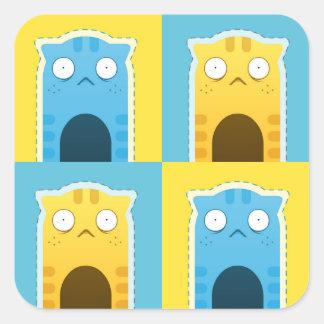 Autocollants bleus de chat de gingembre