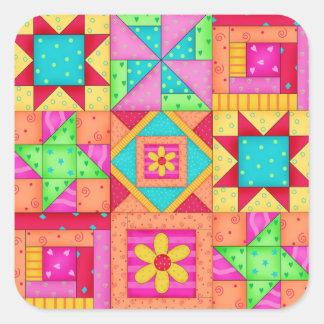 Autocollants carrés de blocs d'édredon de