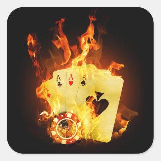 Autocollants carrés de cartes brûlantes de