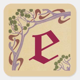Autocollants carrés de Nouveau d'art de la lettre