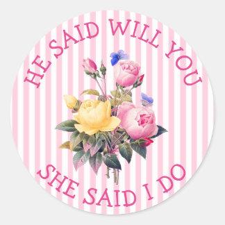 Autocollants chics floraux roses de faire-part de