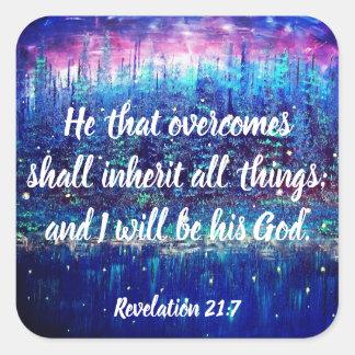 Autocollants chrétiens d'écriture sainte de 21:7