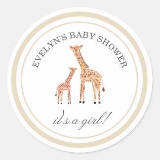 Autocollants de baby shower de girafe