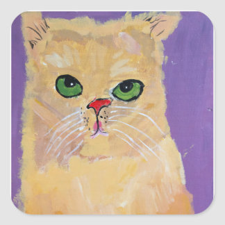 Autocollants de carré de chat de gingembre