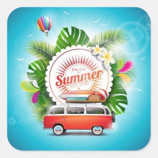 autocollants de carré de vacances d'été, brillants