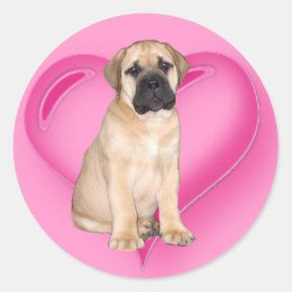 Autocollants de chiot de Bullmastiff d'amour