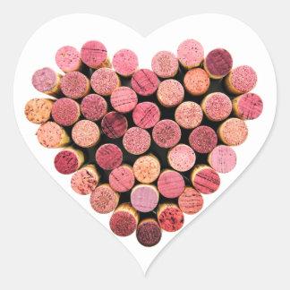 Autocollants de coeur de liège de vin
