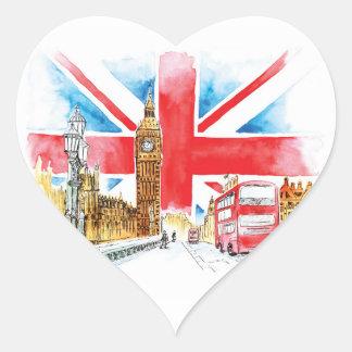 Autocollants de coeur de Londres Big Ben,