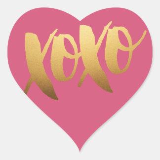 Autocollants de coeur de rose d'amour de l'or XOXO