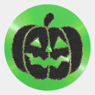 Autocollants de Halloween de citrouille de vert et